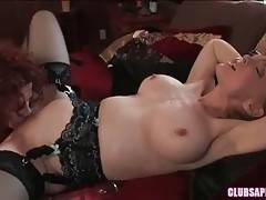 Naughty Justine knows well how to work her tongue at eager pussy.