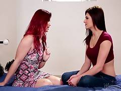 Karlie asks Leah to lick her perky milf boobs and suckle on her ripe nipples with her tender lips. She then removes her tight jeans as Karlie begins licking her boobs and tight, young pussy.