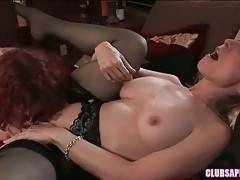 Sweet Justine skillfully tongues and fingers Nina Hartley.
