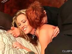 Two chicks in male suits tender pretty blonde milf.