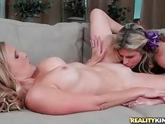 Naughty Cory Chase hungrily works her mouth at Brianna`s cunt.