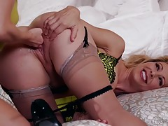 Megan spreads her legs as her mother demonstrates the pleasures of lesbian fornication. Megan resists as much as possible but Cherie`s lesbian skills render her daughter defenseless and finally gives in. Megan drips her saliva over Cherie`s pussy and sque