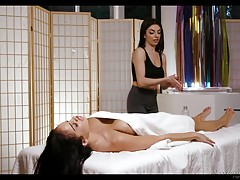 Darcie speaks to her in soothing tones as she massages Victoria. Once Victoria turns over, she tells Darcie `thank you` and Darcie smiles, massaging Victoria`s breasts knowing what will take Victoria`s mind off her phone...an orgasm!