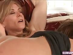 Experienced Nina Hartley has fun with sweet Mia Presley.