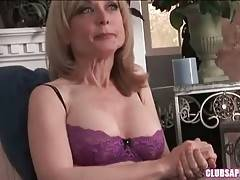 Breasted blond milf Nina Hartley doesn`t mind to play submissive part.